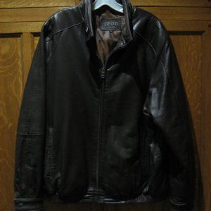 IZOD CHOCOLATE BROWN LEATHER MEN'S SZ. LG. COAT